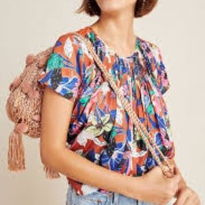 Dolan for Anthropologie Pleated Short Sleeve Top